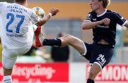 MSV-Angreifer Vincent Vermeij (rechts) traf im Hinspiel zum Sieg für Duisburg (