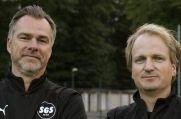 Schönebeck-Trainer Ulf Ripke (l.) mit seinem Co-Trainer Kevin Busse.