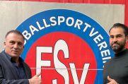 FSV-Duisburg-Boss Erol Ayar (links) und der neue Trainer Muhammet Isiktas.