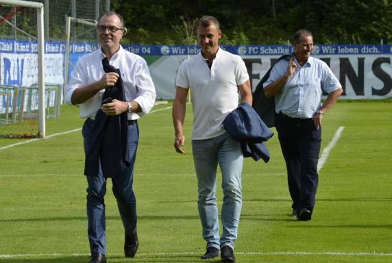 Clemens Tönnies, Ebbe Sand, Huub Stevens, FC Schalke 04.