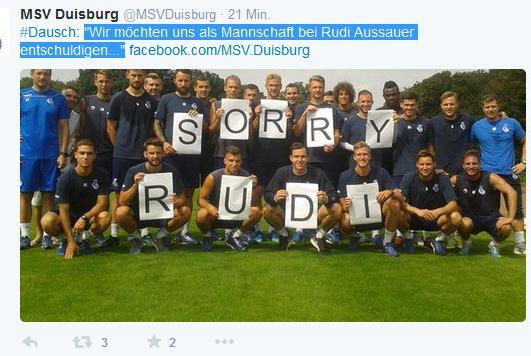 MSV Duisburg: Auch das Team entschuldigt sich bei Assauer