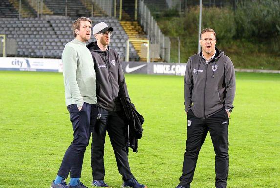 Peter Niemeyer (links) plant den neuen Kader vom SC Preußen Münster.