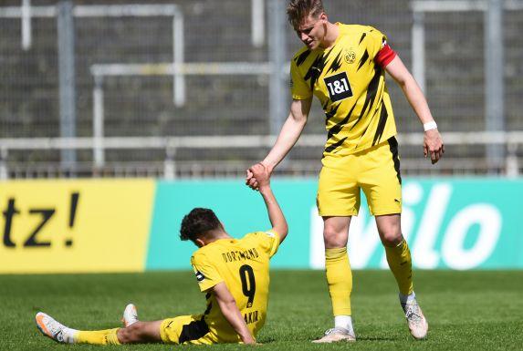 Große Enttäuschung beim BVB II nach dem 2:2 gegen Homberg.