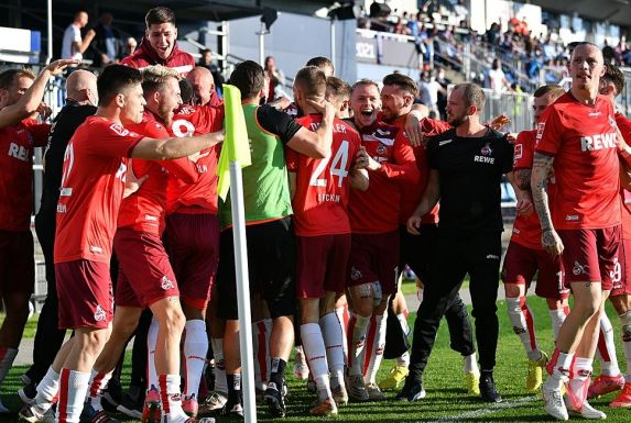Großer Jubel beim 1. FC Köln.