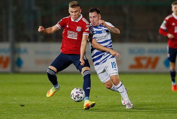 Wechselt aus Unterhaching zum SV Meppen: Ex-RWE-Verteidiger Max Dombrowka (links).